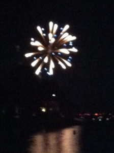 Grace's view of fireworks over Lake Wylie.