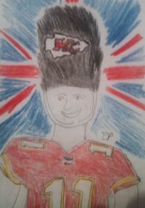 This is my attempt to sketch Chiefs quarterback Alex Smith as one of those dudes who guard Buckingham Palace. Yeah.