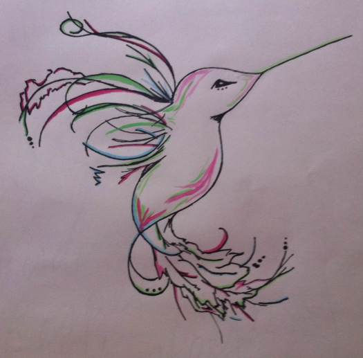 Art by Elise, pen and water colors on paper