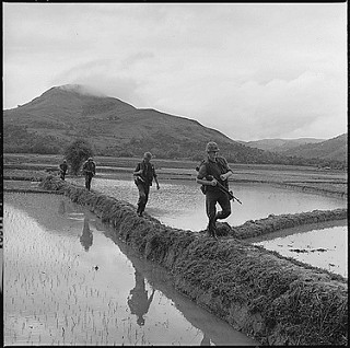 photo credit: Men of H Company, 2nd Battalion, 7th Marines, move along rice paddy dikes in pursuit of the Viet Cong: 12/10/1965 via photopin (license)