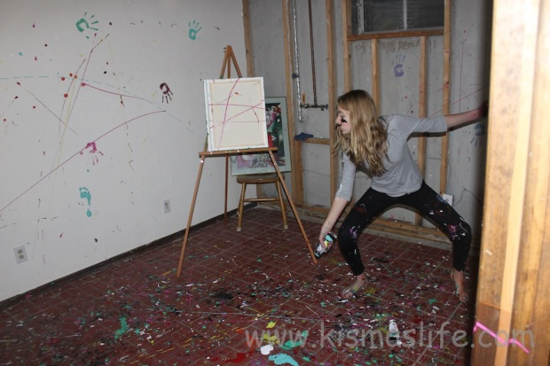 At the age of 13 and decorating her art room for the first time with splatter paint and glitter.