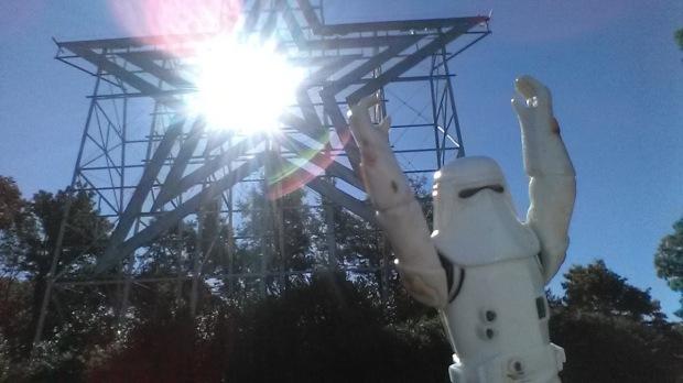 You don't have to be a star, baby, to be in my show. (Snowtrooper jubilation at Mill Mountain Park, Roanoke, Va.