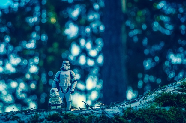 stormtrooper father kid forest