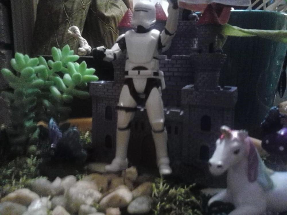 stormtrooper unicorn fairy garden