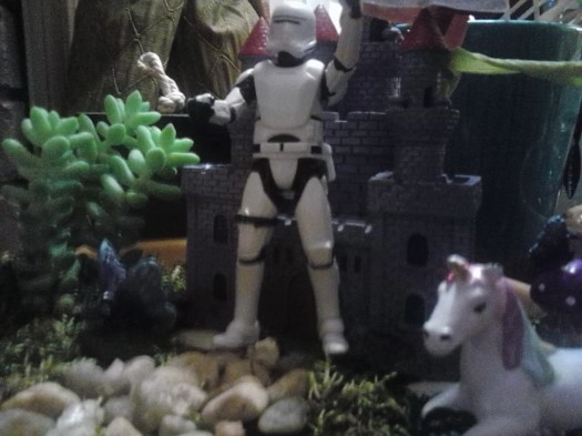stormtrooper unicorn fairy garden