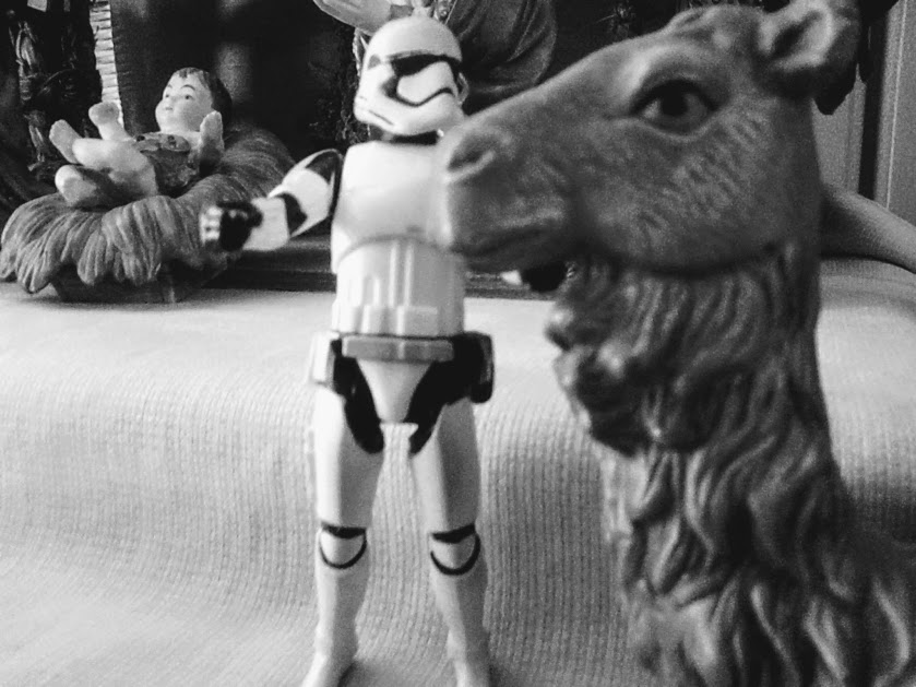 Stormtrooper at the nativity in black and white