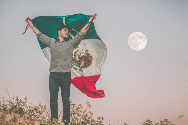 Man Mexico flag moon