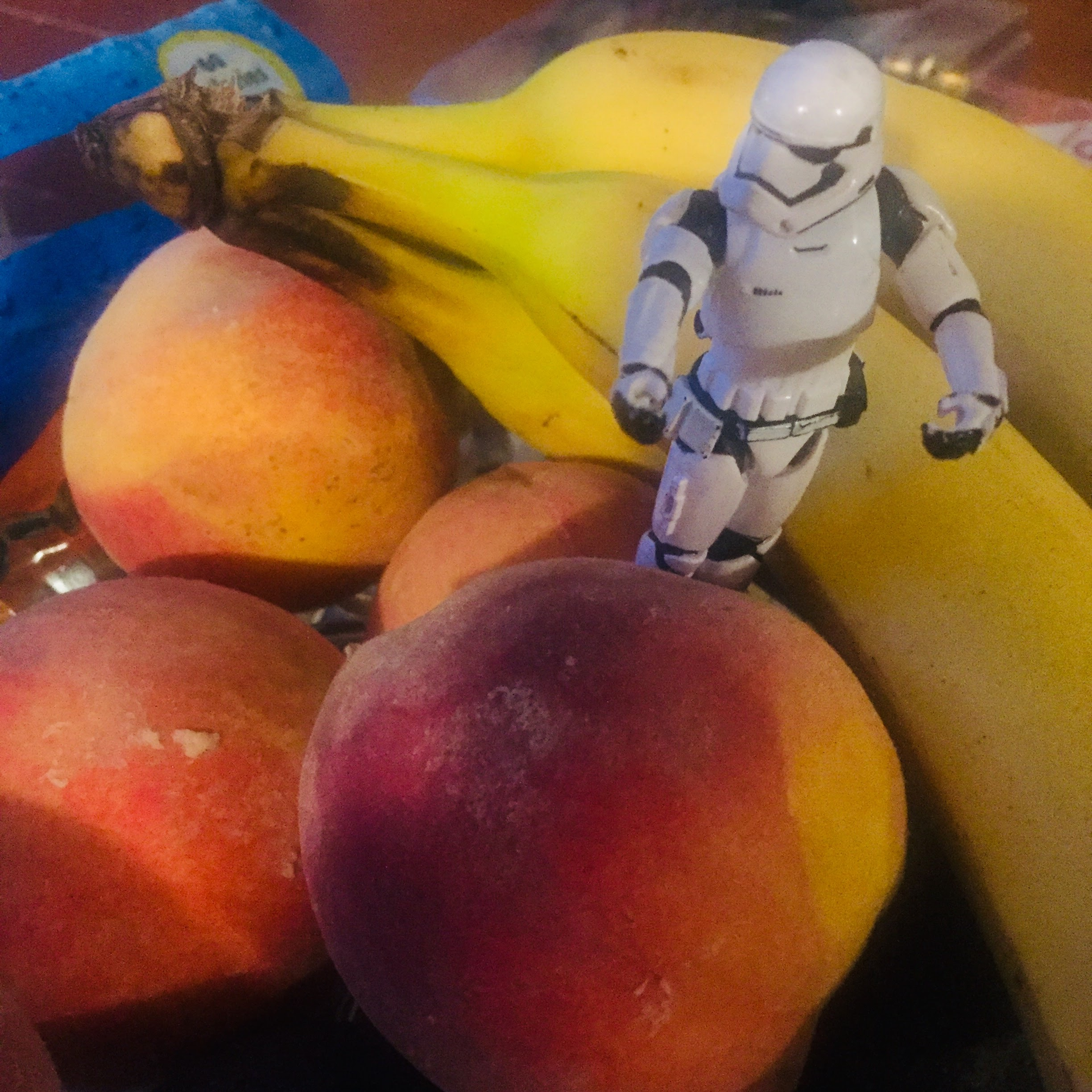 Stormtrooper in the midst of a fruity world.